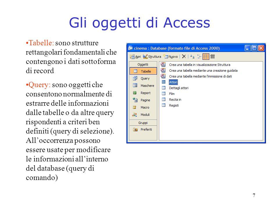 Gli oggetti di Access Tabelle: sono strutture rettangolari fondamentali che contengono i dati sottoforma di record.