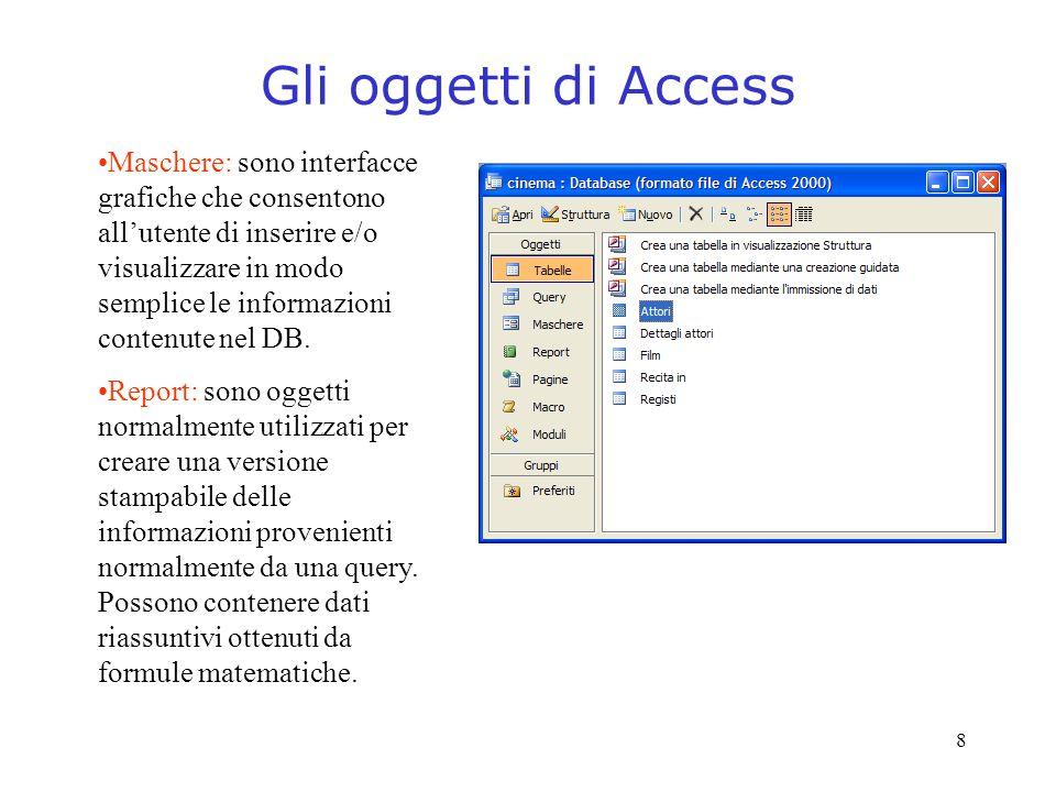 Gli oggetti di Access