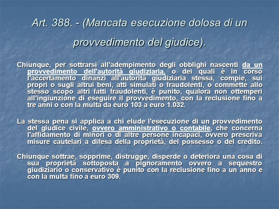 Art. 388. - (Mancata esecuzione dolosa di un provvedimento del giudice).