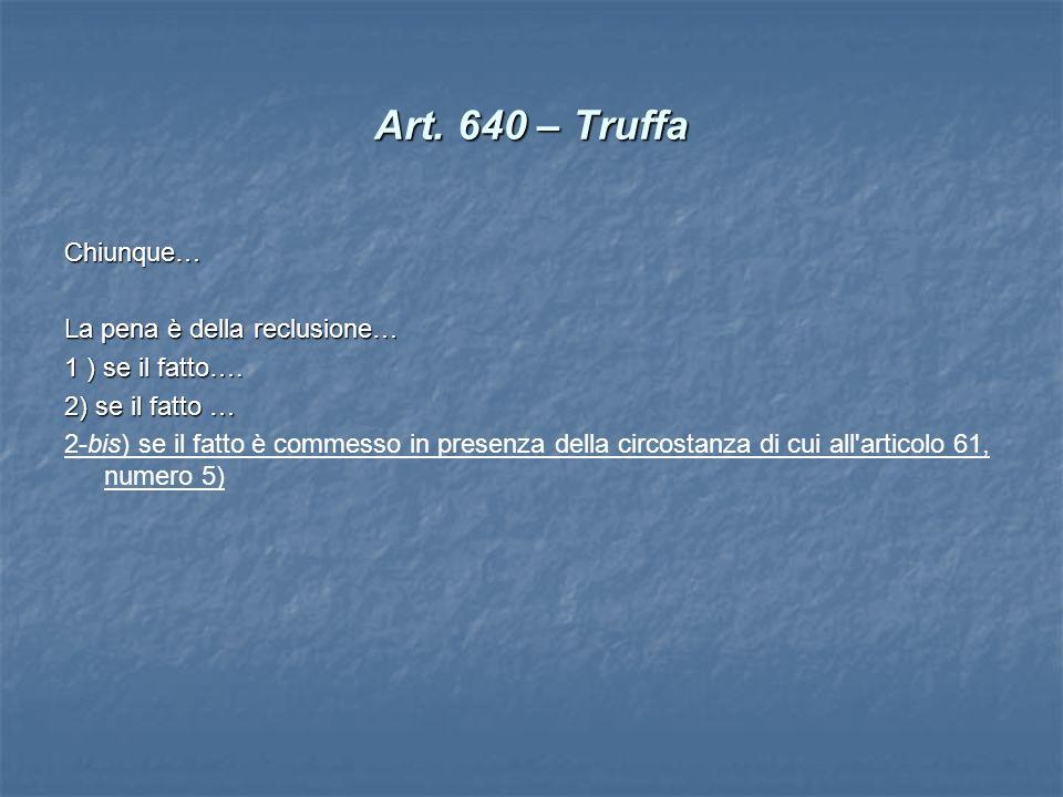Art. 640 – Truffa Chiunque… La pena è della reclusione…