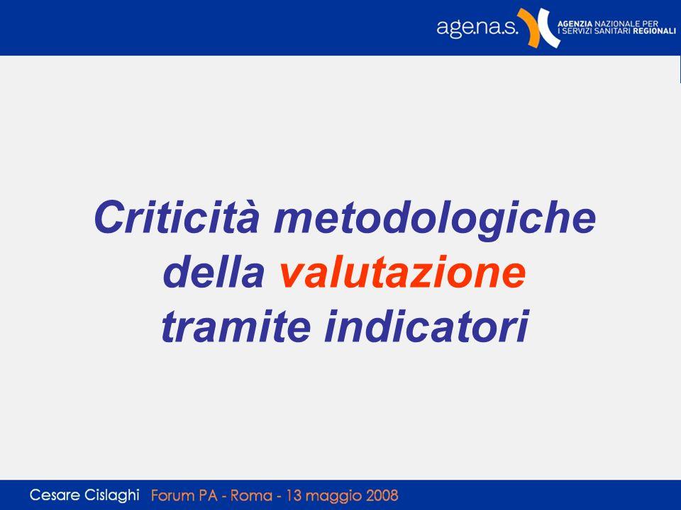 Criticità metodologiche della valutazione tramite indicatori