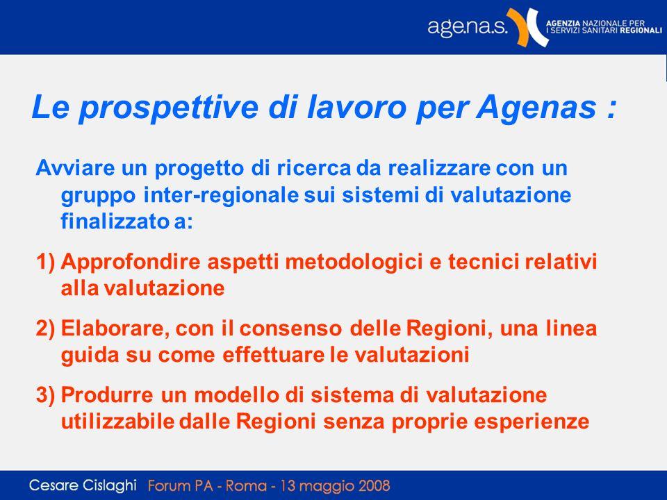 Le prospettive di lavoro per Agenas :