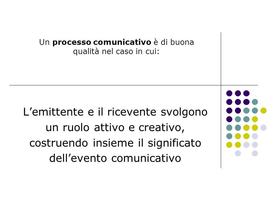Un processo comunicativo è di buona qualità nel caso in cui: