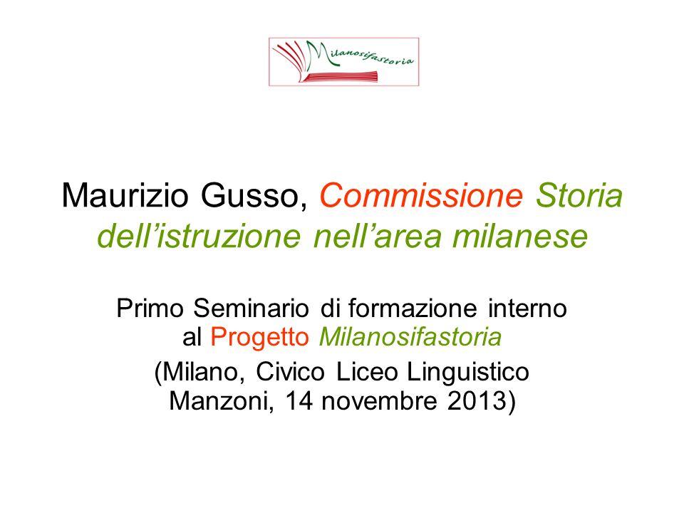 Maurizio Gusso, Commissione Storia dell'istruzione nell'area milanese