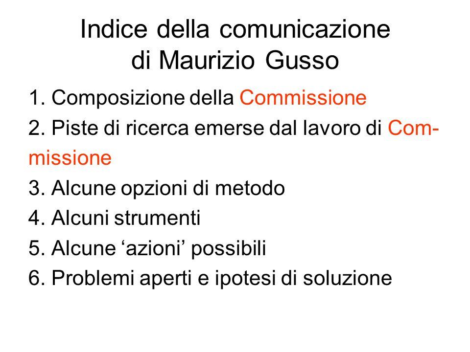 Indice della comunicazione di Maurizio Gusso