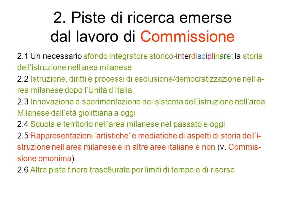 2. Piste di ricerca emerse dal lavoro di Commissione