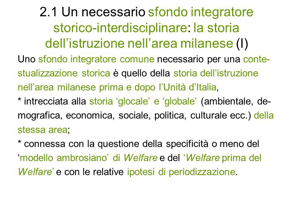 2.1 Un necessario sfondo integratore storico-interdisciplinare: la storia dell'istruzione nell'area milanese (I)
