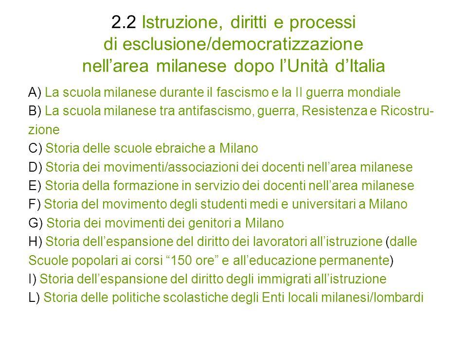 2.2 Istruzione, diritti e processi di esclusione/democratizzazione nell'area milanese dopo l'Unità d'Italia