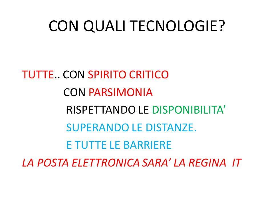 CON QUALI TECNOLOGIE TUTTE.. CON SPIRITO CRITICO CON PARSIMONIA