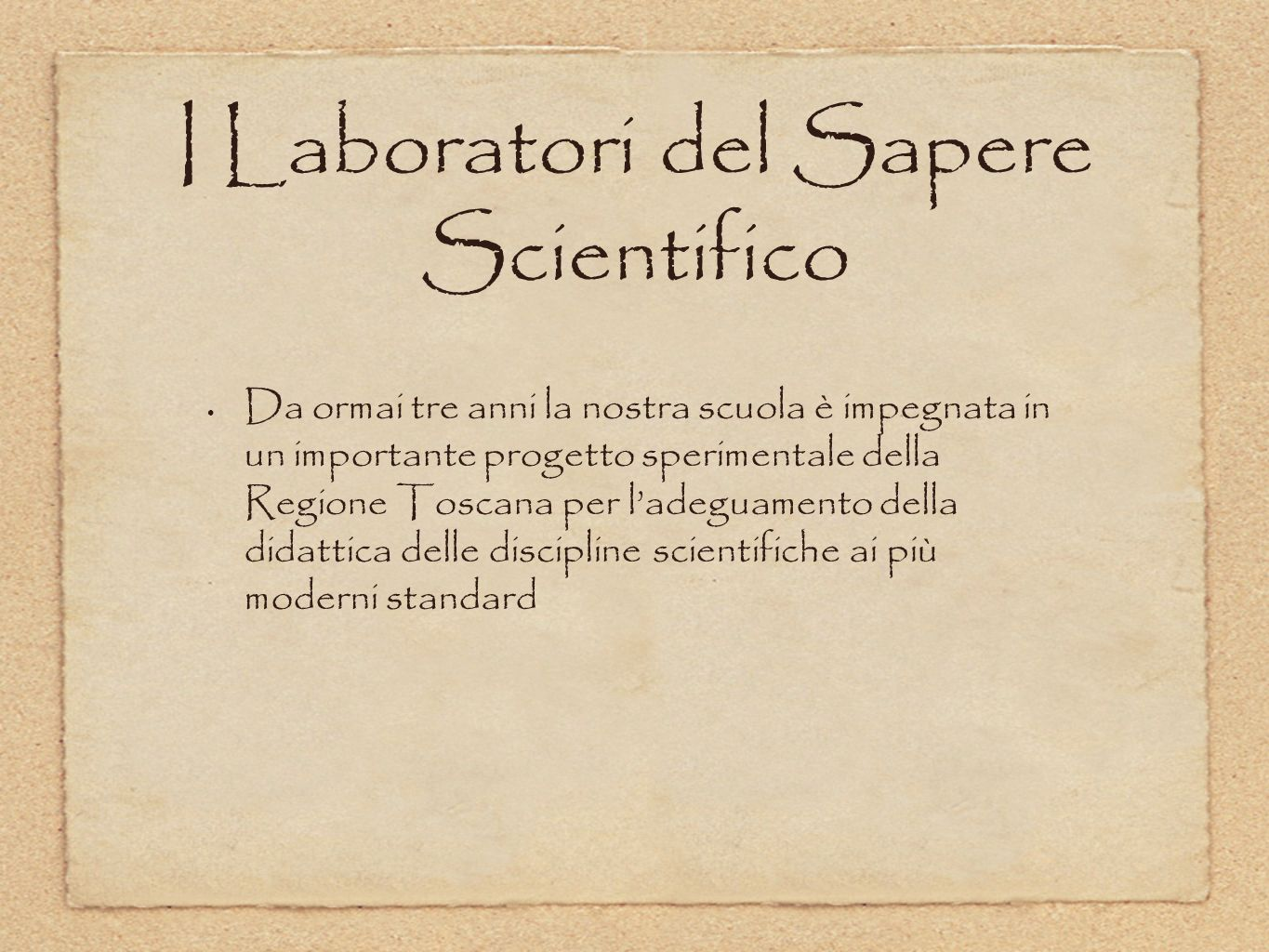 I Laboratori del Sapere Scientifico