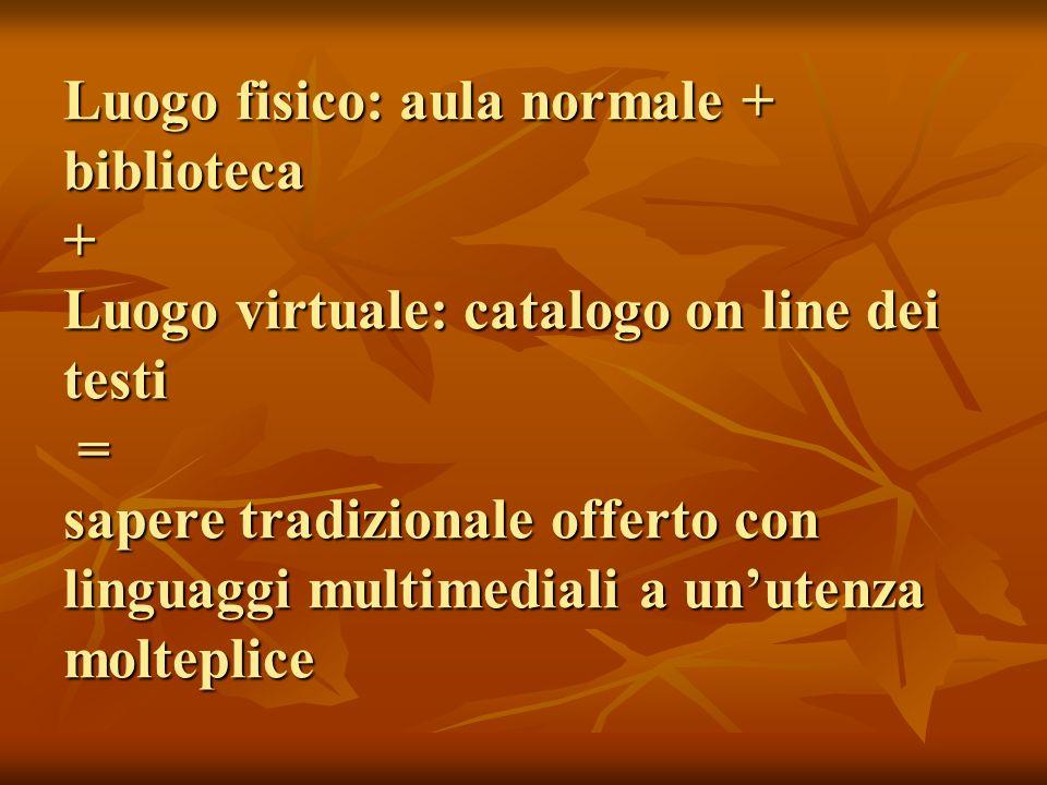 Luogo fisico: aula normale + biblioteca + Luogo virtuale: catalogo on line dei testi = sapere tradizionale offerto con linguaggi multimediali a un'utenza molteplice