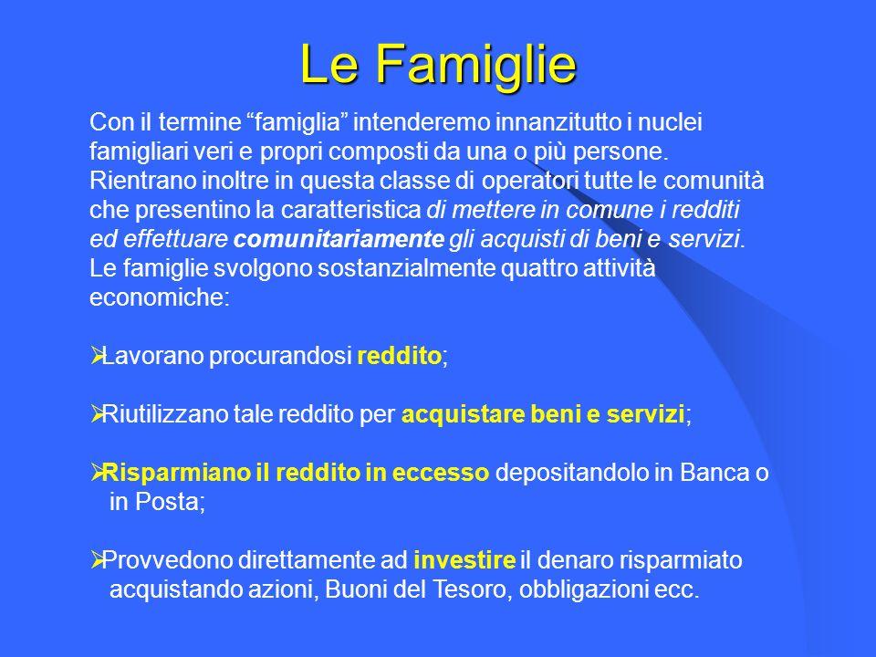 Le Famiglie Con il termine famiglia intenderemo innanzitutto i nuclei. famigliari veri e propri composti da una o più persone.