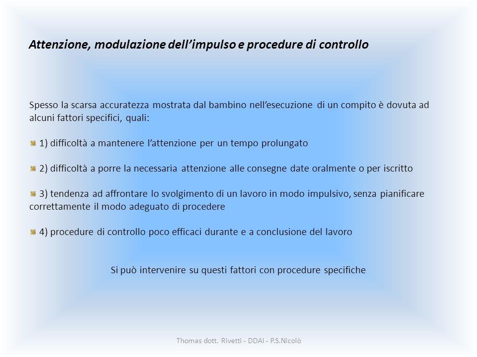 Attenzione, modulazione dell'impulso e procedure di controllo