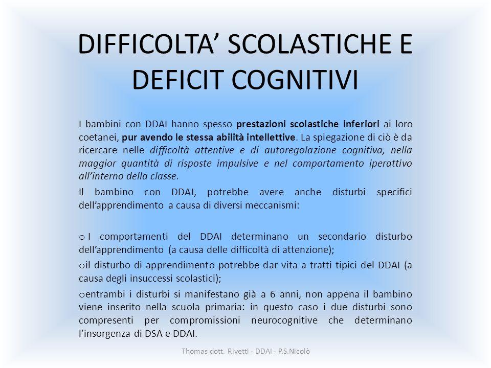 DIFFICOLTA' SCOLASTICHE E DEFICIT COGNITIVI