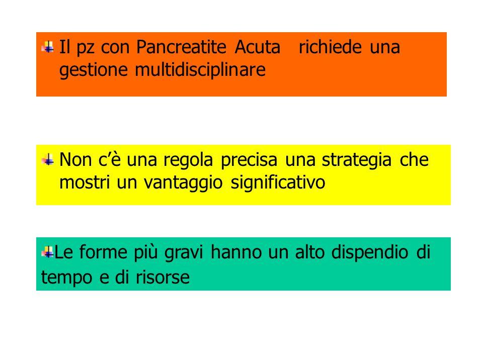 Il pz con Pancreatite Acuta richiede una gestione multidisciplinare