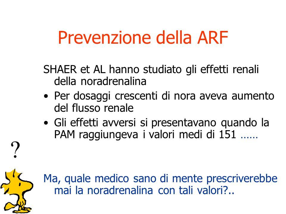Prevenzione della ARF SHAER et AL hanno studiato gli effetti renali della noradrenalina.
