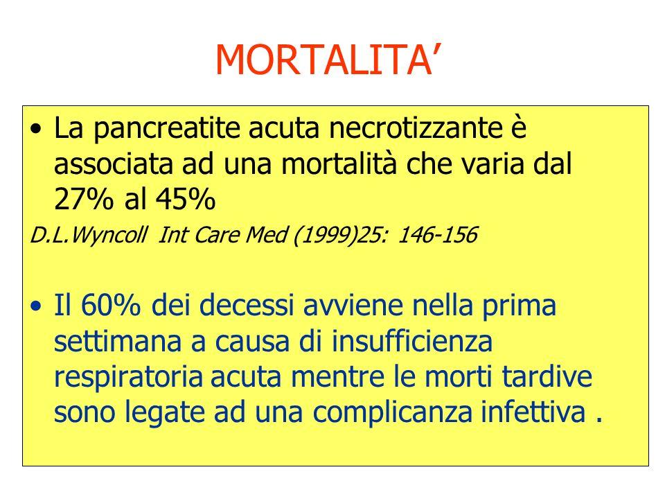 MORTALITA' La pancreatite acuta necrotizzante è associata ad una mortalità che varia dal 27% al 45%