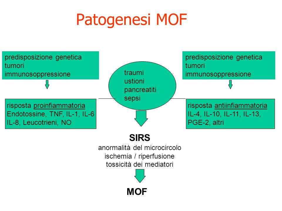 Patogenesi MOF SIRS MOF predisposizione genetica tumori