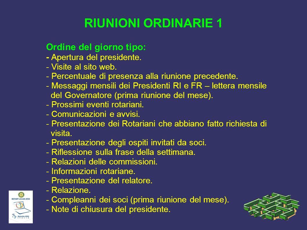 RIUNIONI ORDINARIE 1 Ordine del giorno tipo: - Apertura del presidente. - Visite al sito web. - Percentuale di presenza alla riunione precedente.