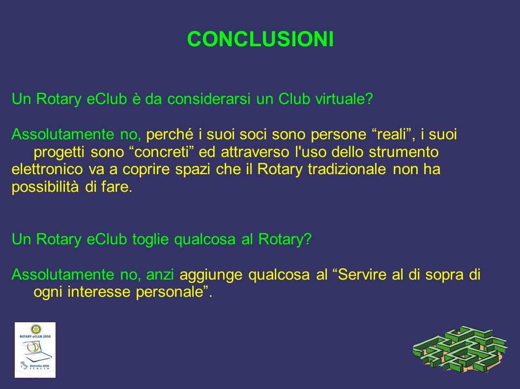 CONCLUSIONI Un Rotary eClub è da considerarsi un Club virtuale