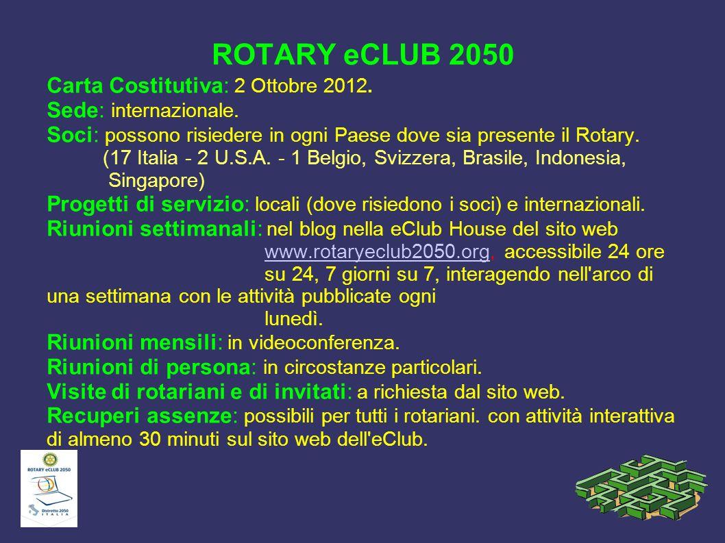 ROTARY eCLUB 2050 Carta Costitutiva: 2 Ottobre 2012.