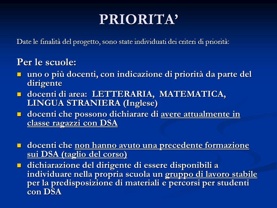 PRIORITA' Per le scuole: