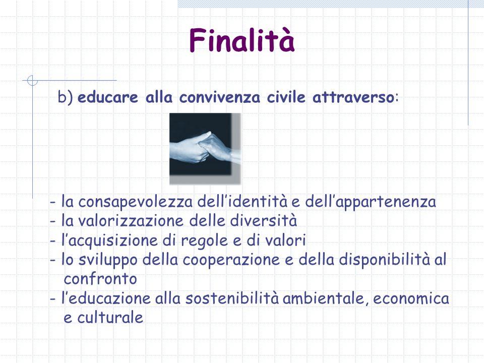 Finalità b) educare alla convivenza civile attraverso: