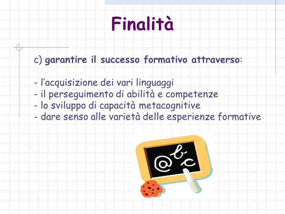 Finalità c) garantire il successo formativo attraverso: