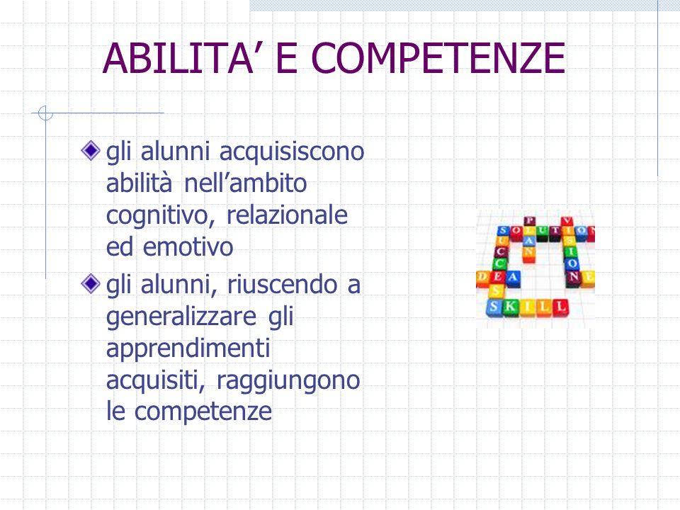 ABILITA' E COMPETENZE gli alunni acquisiscono abilità nell'ambito cognitivo, relazionale ed emotivo.