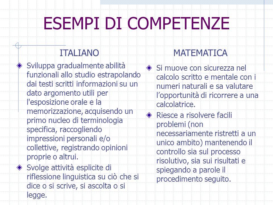 ESEMPI DI COMPETENZE ITALIANO MATEMATICA
