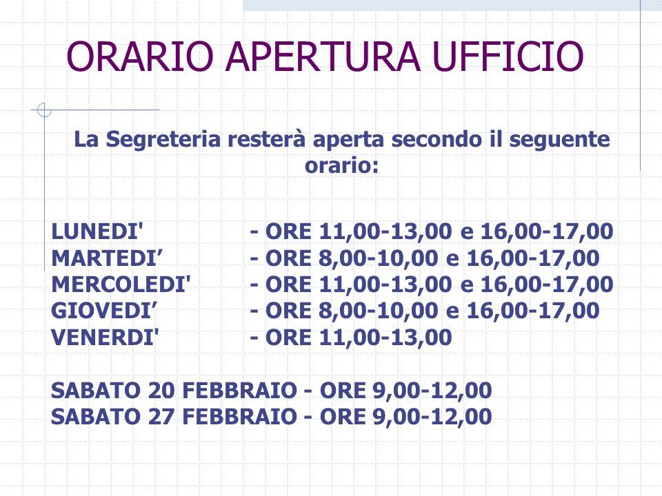ORARIO APERTURA UFFICIO