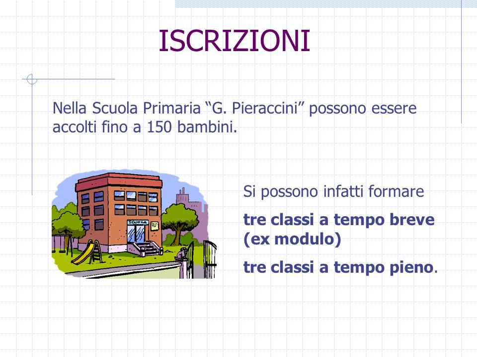 ISCRIZIONI Nella Scuola Primaria G. Pieraccini possono essere accolti fino a 150 bambini. Si possono infatti formare.