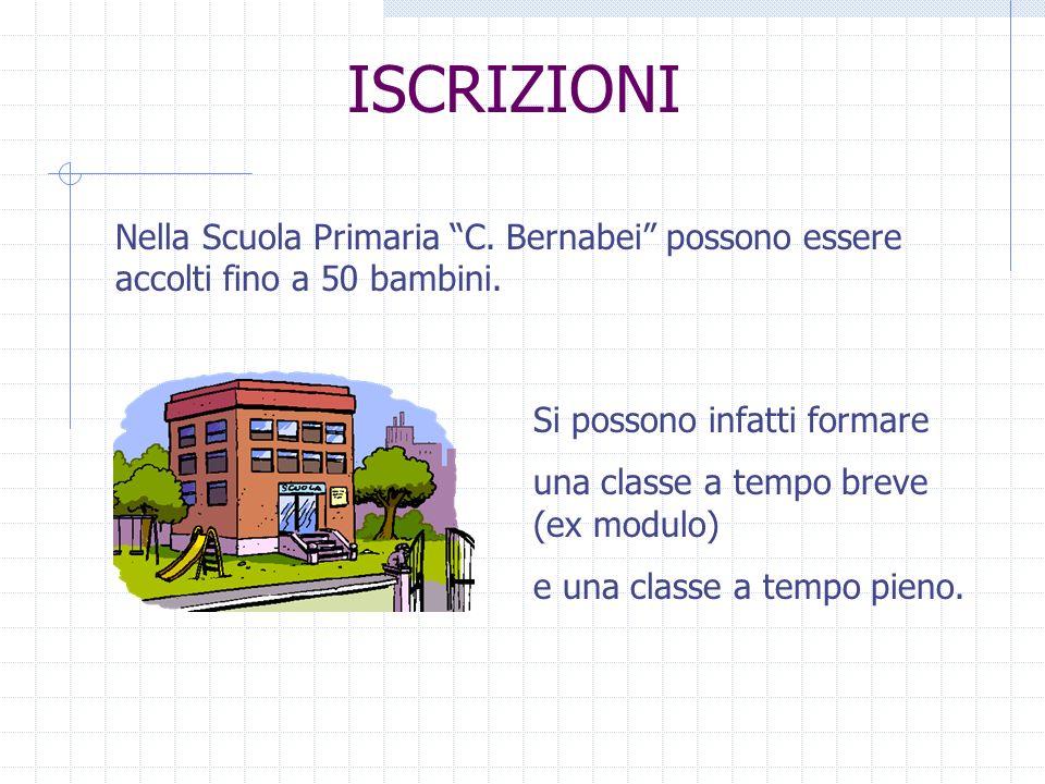 ISCRIZIONI Nella Scuola Primaria C. Bernabei possono essere accolti fino a 50 bambini. Si possono infatti formare.