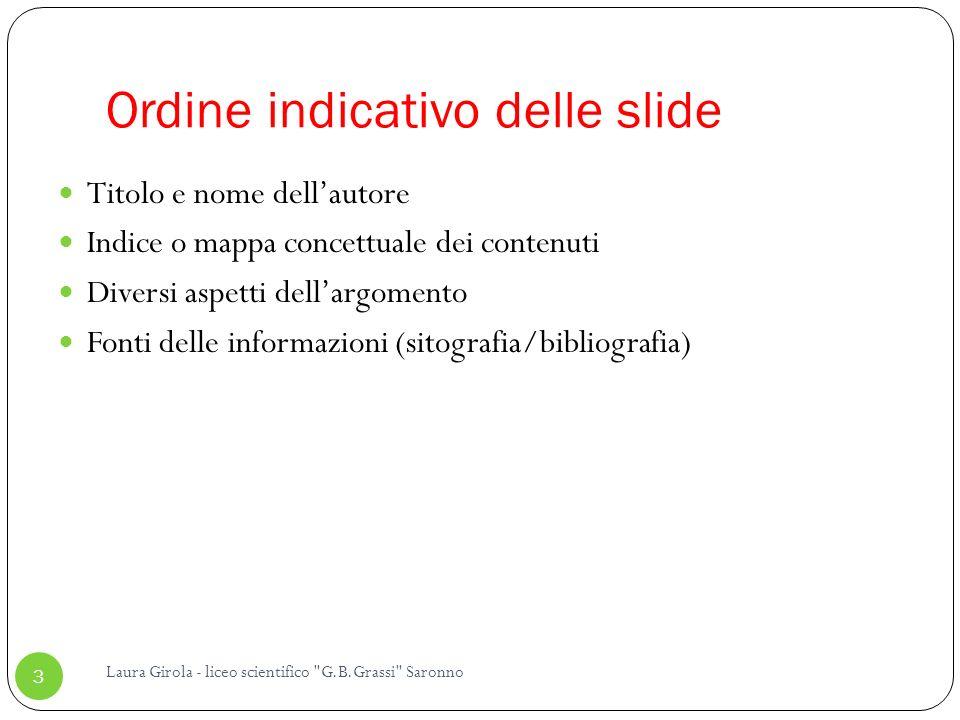 Ordine indicativo delle slide