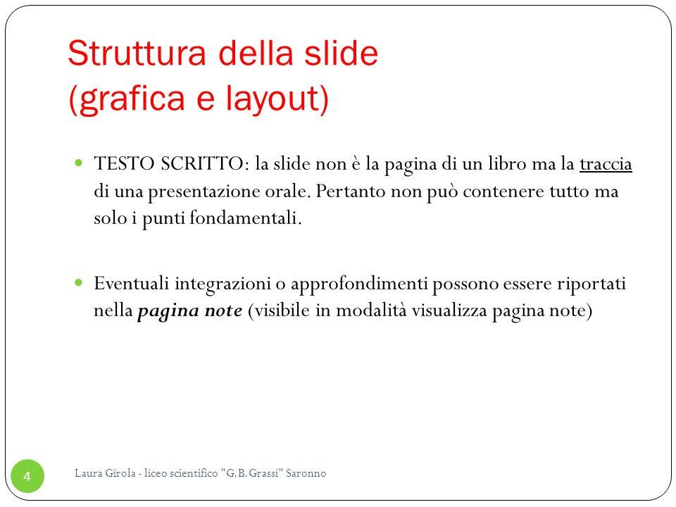 Struttura della slide (grafica e layout)
