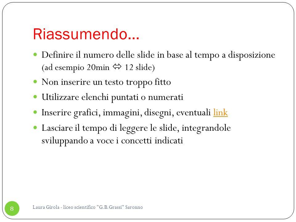 Riassumendo… Definire il numero delle slide in base al tempo a disposizione (ad esempio 20min  12 slide)