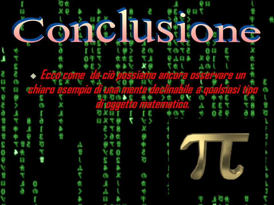 Conclusione Ecco come da ciò possiamo ancora osservare un chiaro esempio di una mente declinabile a qualsiasi tipo di oggetto matematico.