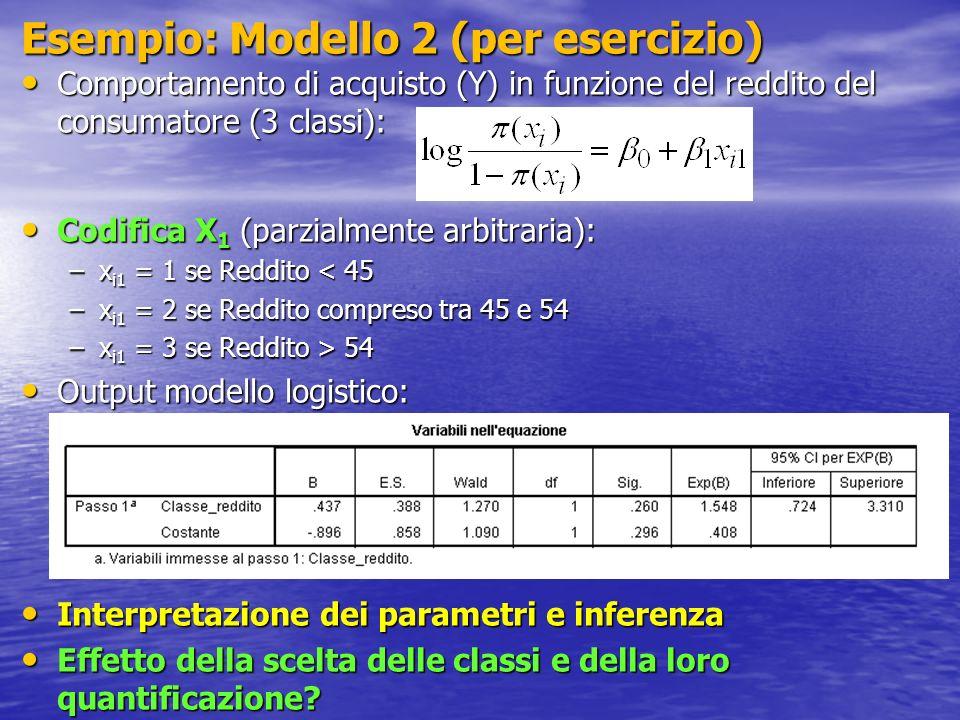 Esempio: Modello 2 (per esercizio)