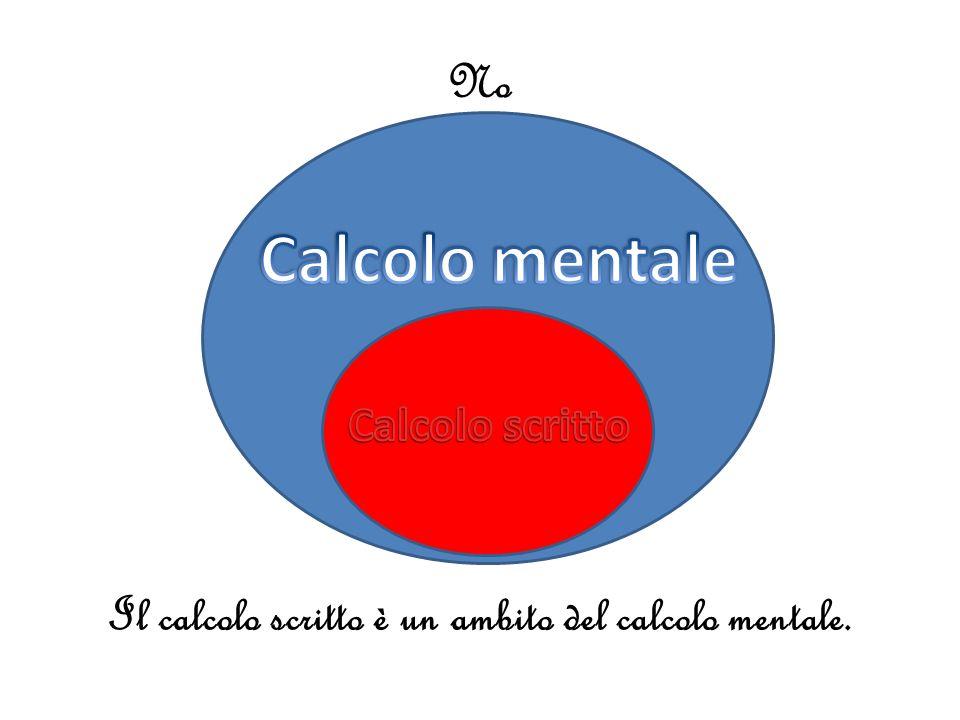 Il calcolo scritto è un ambito del calcolo mentale.
