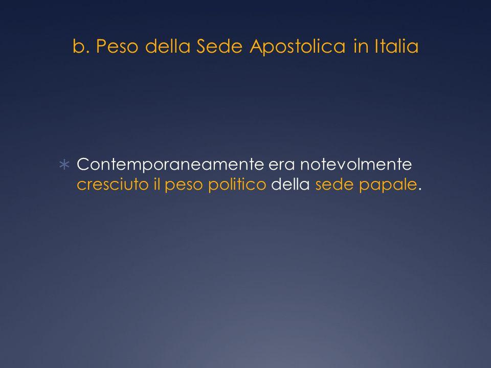 b. Peso della Sede Apostolica in Italia