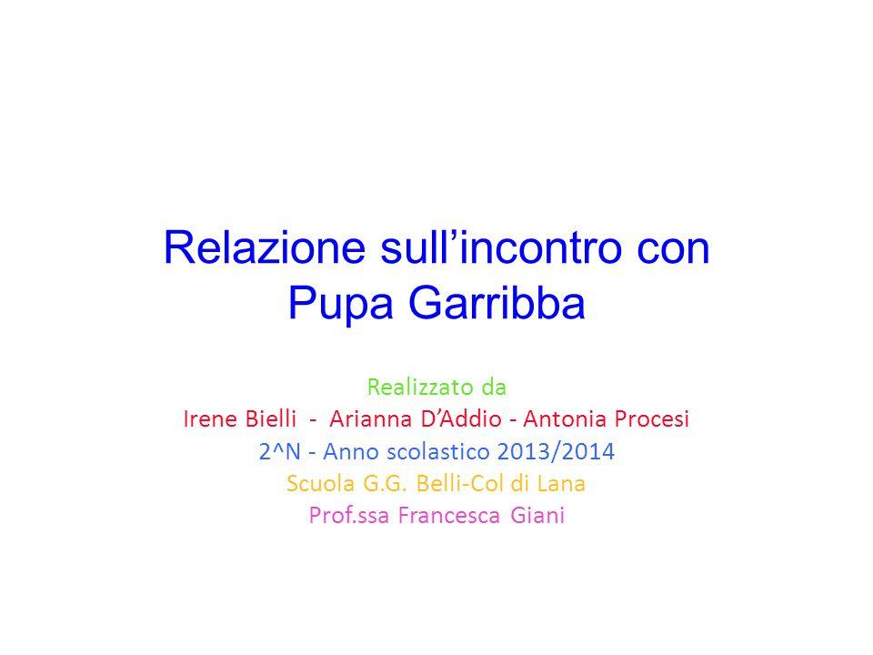 Relazione sull'incontro con Pupa Garribba