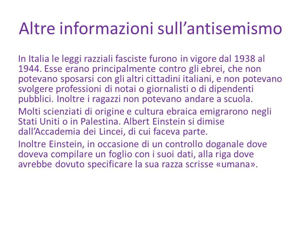 Altre informazioni sull'antisemismo