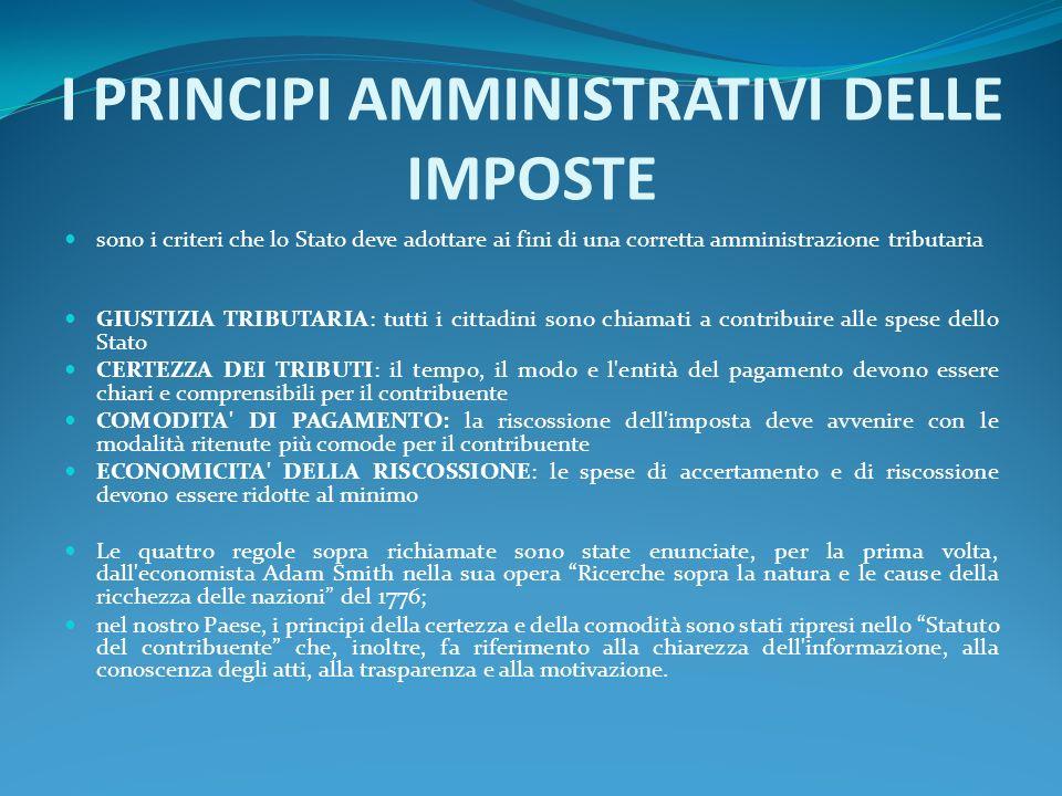 I PRINCIPI AMMINISTRATIVI DELLE IMPOSTE