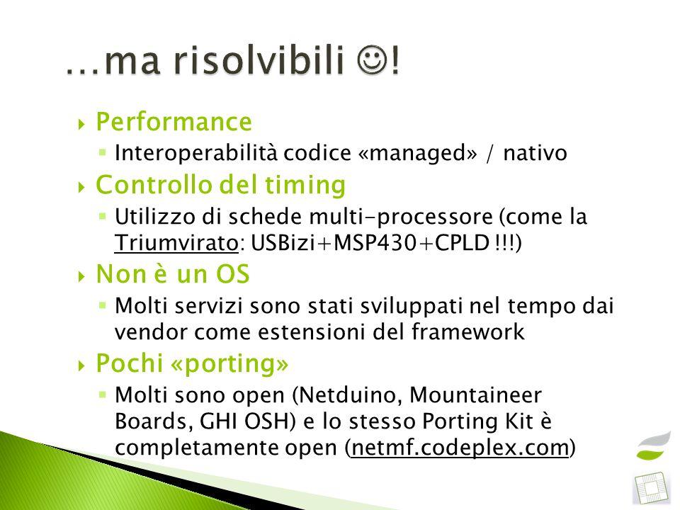 …ma risolvibili ! Performance Controllo del timing Non è un OS