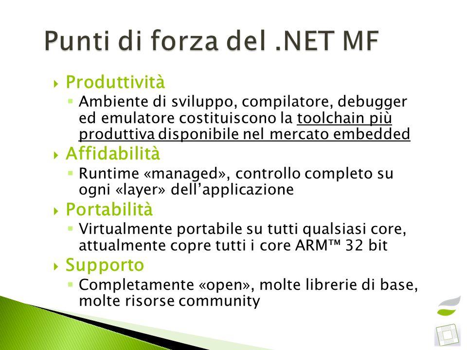 Punti di forza del .NET MF