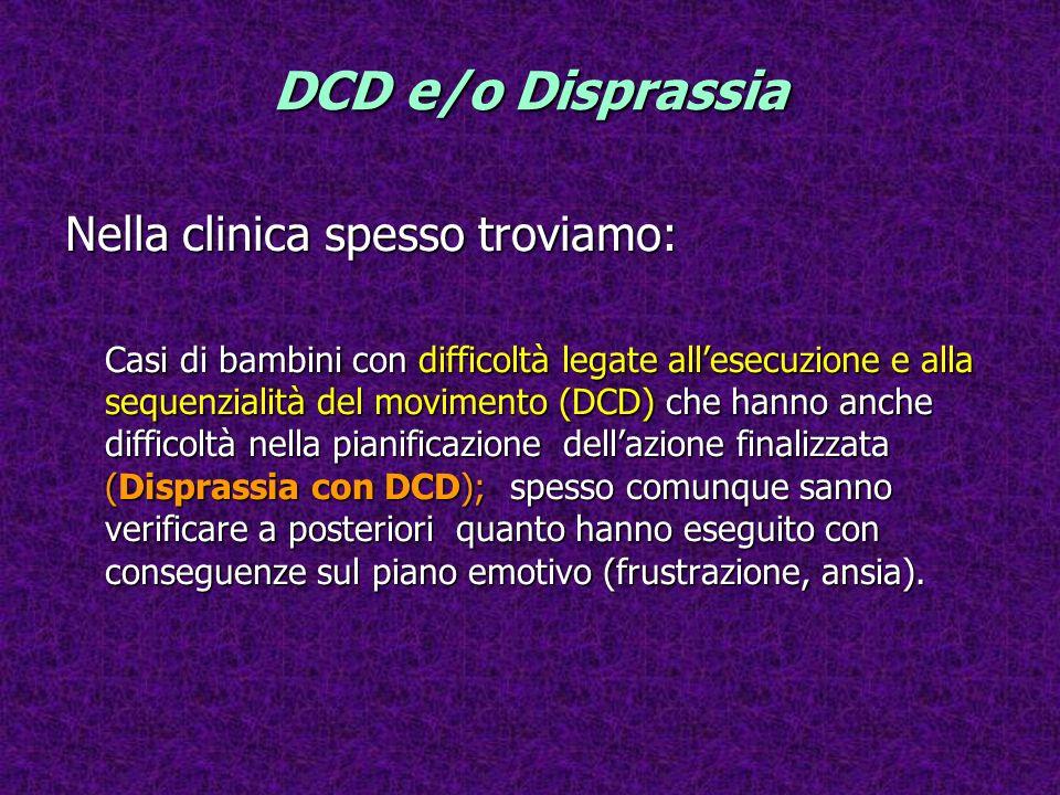 DCD e/o Disprassia Nella clinica spesso troviamo: