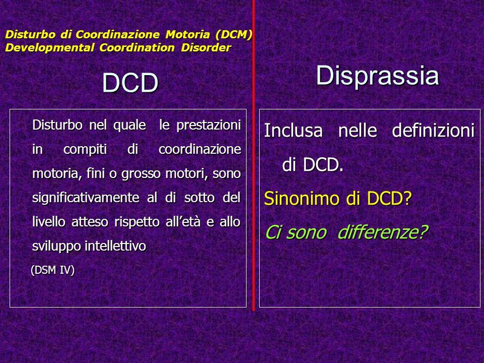Disprassia DCD Inclusa nelle definizioni di DCD. Sinonimo di DCD