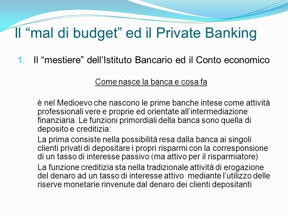 Il mal di budget ed il Private Banking