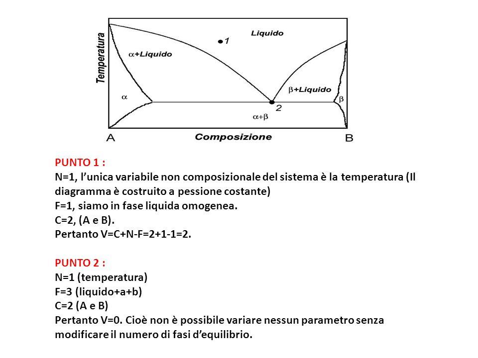PUNTO 1 : N=1, l'unica variabile non composizionale del sistema è la temperatura (Il diagramma è costruito a pessione costante)