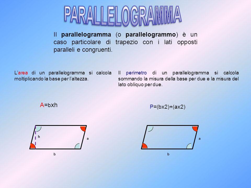 PARALLELOGRAMMA Il parallelogramma (o parallelogrammo) è un caso particolare di trapezio con i lati opposti paralleli e congruenti.